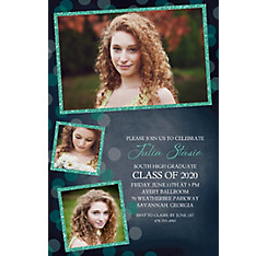 Custom Glitter Mint Frames and Dots Graduation Photo Invitation