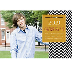 Custom Chevron and Matte Gold Photo Invitation