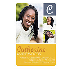 Custom Gold Color Block Initial Graduation Photo Invitation