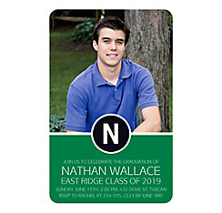 Custom Green Block Initial Graduation Photo Invitation