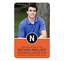 Custom Orange Block Initial Graduation Photo Announcement