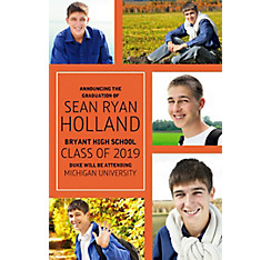 Custom Classic Orange Collage Graduation Photo Announcement