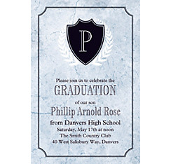 Custom Silver Stone Initial Graduation Invitation