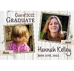 Custom White Wood Graduation Photo Announcement