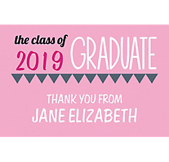 Custom Pink Pennant Banner Graduation Thank You Note
