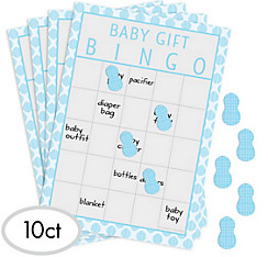 Blue Baby Elephant Baby Shower Bingo Game
