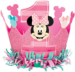 1st Birthday Minnie Mouse Crown Hat