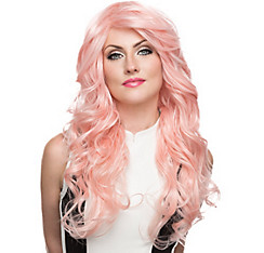Curly Pink Bombshell Farrah Cosplay Wig