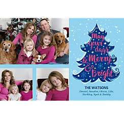 Custom Blue Tree Merry & Bright Collage Photo Card