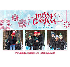 Custom Snowflakes Christmas Collage Photo Card