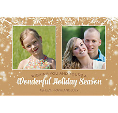 Custom Gold Snowflakes Collage Photo Card