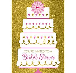 quick shop gold glitter wedding cake bridal shower invitations 8ct - Party City Bridal Shower Invitations