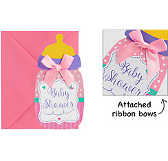 Premium Pink Bottle Baby Shower Invitations 8ct