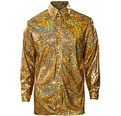 70s Gold Holographic Disco Shirt