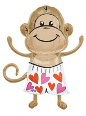 Foil Love Monkey Valentines Day Balloon 33in
