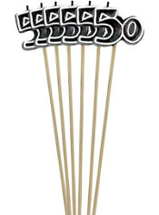 Black Number 50 Birthday Toothpick Candles 6ct