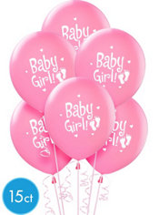 Baby Girl Pink Balloons 12in 15ct