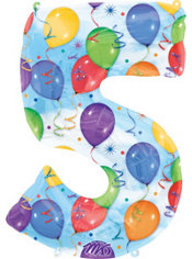 Number 5 Celebration Foil Balloon 34in