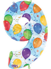 Number 9 Celebration Foil Balloon 34in