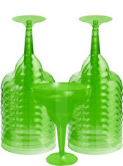 Kiwi Green Plastic Margarita Glasses 20ct
