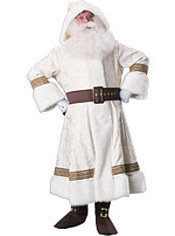 Adult White Brocade Old Time Santa Suit