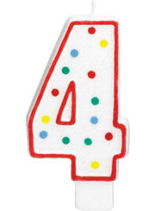 Giant Red Outline Glitter Polka Dot Number 4 Candle