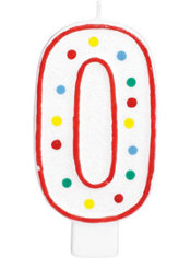 Number 0 Polka Dot Birthday Candle with Glitter 5in