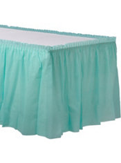 Robin S Egg Blue Plastic Table Skirt 168in X 29in Party City