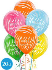 Latex Zebra Birthday Printed Balloons 12in 20ct
