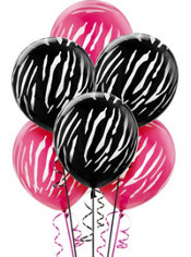 Latex Black and Pink Zebra Print Balloons 12in 20ct