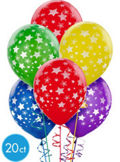 Latex Primary Star Printed Balloons 12in 20ct