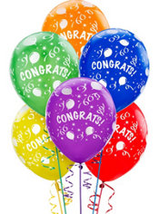 Latex Congrats Printed Balloons 12in 6ct