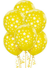 Latex Yellow Star Printed Balloons 12in 6ct