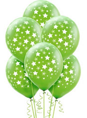 Latex Kiwi Star Printed Balloons 12in 6ct