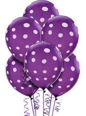 Latex New Purple Polka Dots Printed Balloons 12in 6ct
