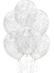 Clear & White Filigree Latex Balloons 12in 6ct