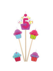 Number 5 & Cupcake Candle Picks 5ct
