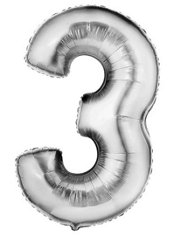Number 3 Metallic Silver Foil Balloon 34in
