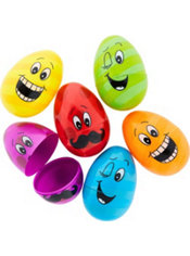 Funny Faces Plastic Easter Eggs 6ct