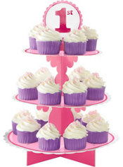 Pink 1st Birthday Cupcake Stand