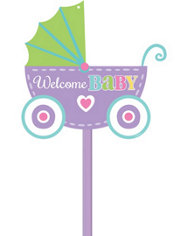 Bright Carriage Baby Shower Yard Sign