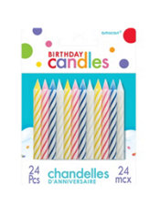 Assorted Candy Stripe Birthday Candles 2in 24ct