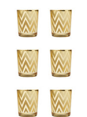 Gold Chevron Votive Candle Holders 6ct
