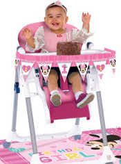 1st Birthday Minnie Mouse High Chair Decorating Kit 2pc