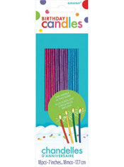 Glitter Tall Jewel Tone Sparkler Birthday Candles 18ct