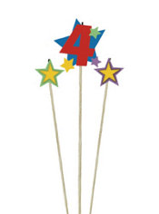 Number 4 & Star Candle Picks 3ct