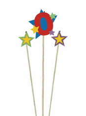 Number 0 Birthday Candle and Stars 3ct