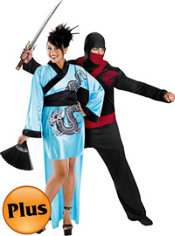 Plus Size Dragon Geisha and Plus Size Warrior Ninja Couples Costumes
