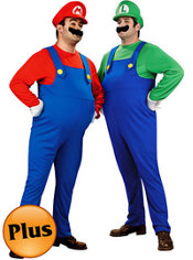 Deluxe Plus Size Mario and Deluxe Plus Size Luigi Super Mario Brothers Couples Costumes
