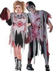 Plus Size Zombie Cheerleader and Football Zombie Couples Costumes